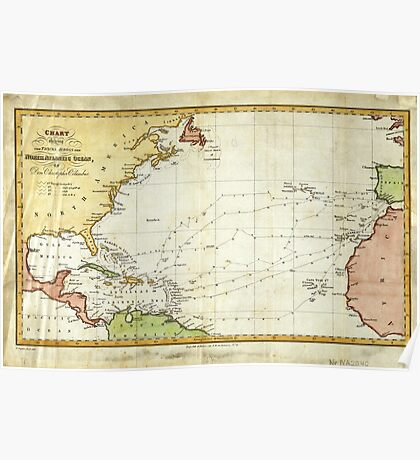 Vintage Christopher Columbus Voyage Map (1828) Poster
