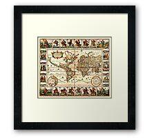 Vintage Map of The World (1652) Framed Print