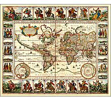 Vintage Map of The World (1652) Photographic Print