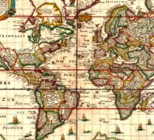 Vintage Map of The World (1652) Sticker