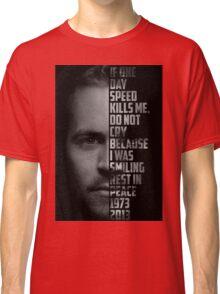 Paul Walker Text Portrait Classic T-Shirt