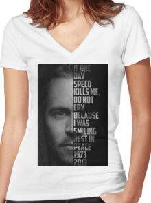 Paul Walker Text Portrait Women's Fitted V-Neck T-Shirt
