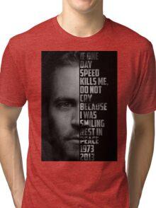 Paul Walker Text Portrait Tri-blend T-Shirt