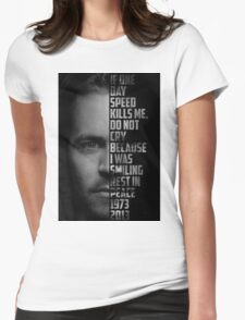 Paul Walker Text Portrait Womens Fitted T-Shirt