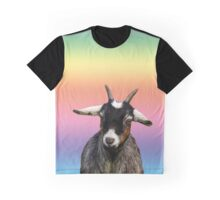 Baby goat on a rainbow background Graphic T-Shirt