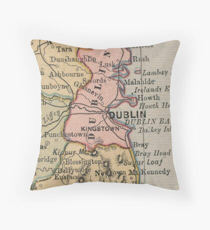 Vintage Map of Dublin Ireland (1883) Throw Pillow