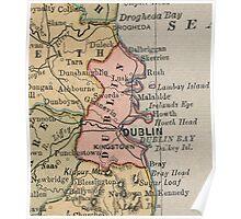 Vintage Map of Dublin Ireland (1883) Poster