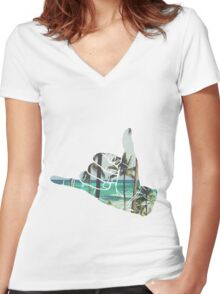 PalmTree Women's Fitted V-Neck T-Shirt
