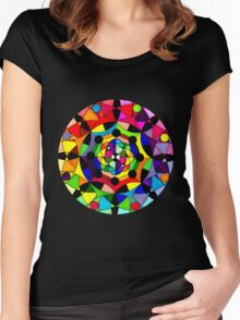 Psychedelic Abstract Colourful 182 Crest Women's Fitted Scoop T-Shirt