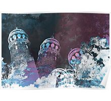 Tower modern galata tower surreal painting art design Poster