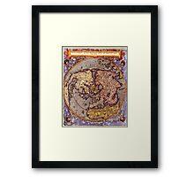 Vintage Map of The World's Northern Hemisphere Framed Print