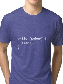 While Sober Do Beer - White Tri-blend T-Shirt