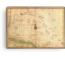 Vintage Map of The Bahamas (1650) Metal Print