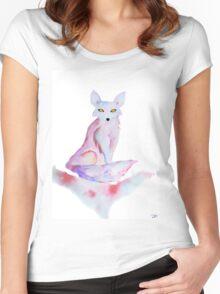 Dream Fox - Watercolor Spirit Animal Women's Fitted Scoop T-Shirt