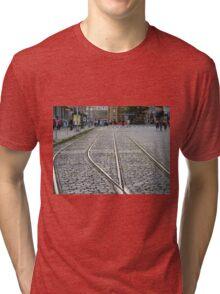 Abandoned Trolley Tracks, Cobblestone Streets, Hoboken, New Jersey Tri-blend T-Shirt