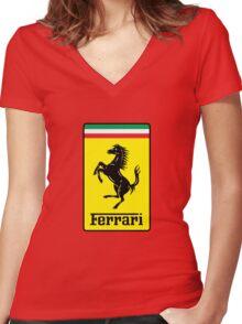 Ferrari Logo Women's Fitted V-Neck T-Shirt