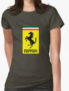 Ferrari Logo Womens Fitted T-Shirt