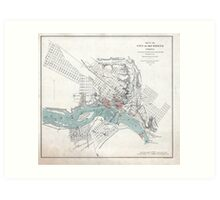 Vintage Map of Richmond Virginia (1864) Art Print