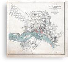 Vintage Map of Richmond Virginia (1864) Canvas Print