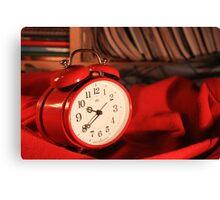 Red Alarm Clock 3 - Macro Photography Canvas Print