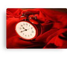 Red Alarm Clock 4 - Macro Photograpy Canvas Print