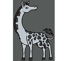 Silver Giraffe with Black Spots Photographic Print