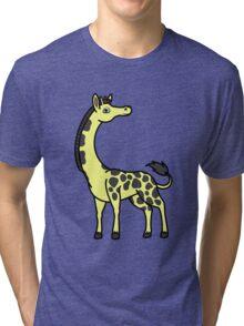 Yellow Giraffe with Black Spots Tri-blend T-Shirt