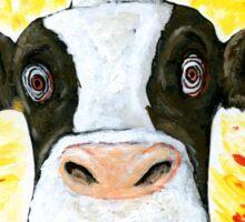 Crazy Cow Face Sticker