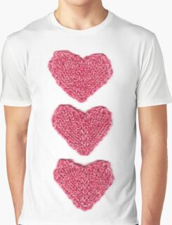 Pink Love Hearts Knitted Graphic T-Shirt