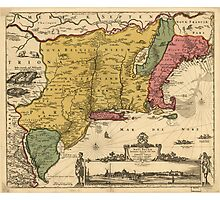 Vintage Map of New England (1685) Photographic Print