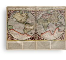 Vintage Map of The World (1587) Metal Print