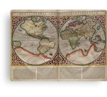 Vintage Map of The World (1587) Canvas Print