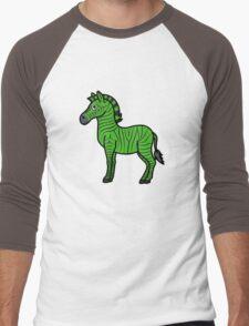 Green Zebra with Black Stripes Men's Baseball ¾ T-Shirt
