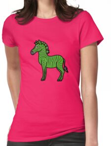Green Zebra with Black Stripes Womens Fitted T-Shirt