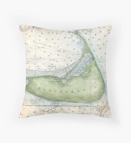 Vintage Map of Nantucket (1857) Throw Pillow