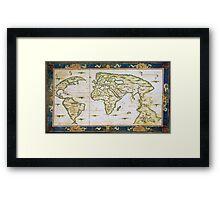 Vintage Map of The World (1566) Framed Print