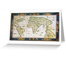 Vintage Map of The World (1566) Greeting Card