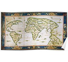 Vintage Map of The World (1566) Poster