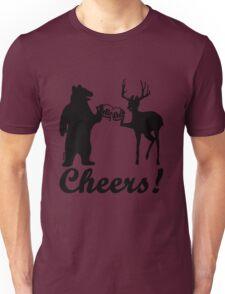 Bear, deer, beer, & cheers Unisex T-Shirt