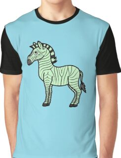 Light Green Zebra with Black Stripes Graphic T-Shirt