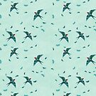 Swooping Swallows in the Air, Pale Mint by ThistleandFox