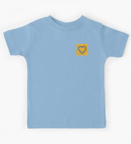 Blue Heart on Yellow Background Kids Tee