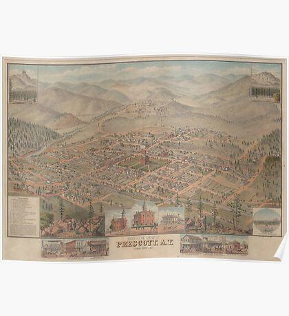 Vintage Pictorial Map of Prescott Arizona (1885) Poster