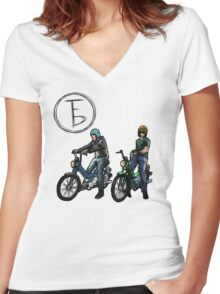The Frontbottoms Motorcycle Club Women's Fitted V-Neck T-Shirt