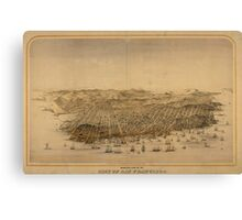 Vintage Pictorial Map of San Francisco (1868) Canvas Print