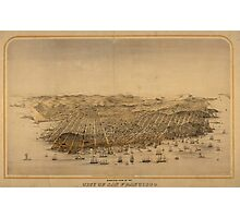Vintage Pictorial Map of San Francisco (1868) Photographic Print