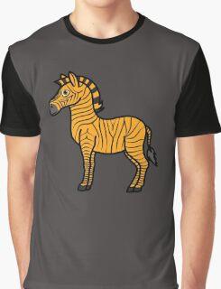 Orange Zebra with Black Stripes Graphic T-Shirt