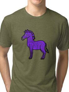 Purple Zebra with Black Stripes Tri-blend T-Shirt