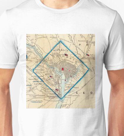 Vintage Map of Washington D.C. Battlefields (1862) Unisex T-Shirt