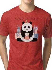 PANDA HAPPY BIRTHDAY Tri-blend T-Shirt